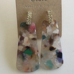 Rhinestone and Acrylic Earrings
